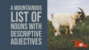 A mountainous list of nouns with descriptive adjectives