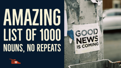 Read more about the article Amazing list of 1000 nouns, no repeats