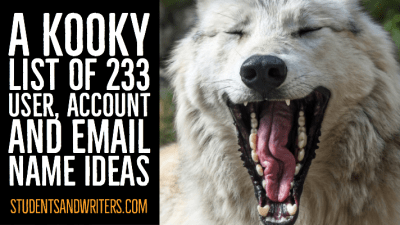 A kooky list of 233 user, account and email name ideas