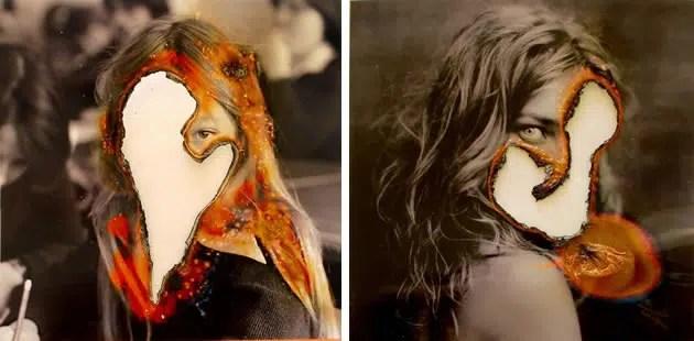 Burned photographs by Lucas Simoes