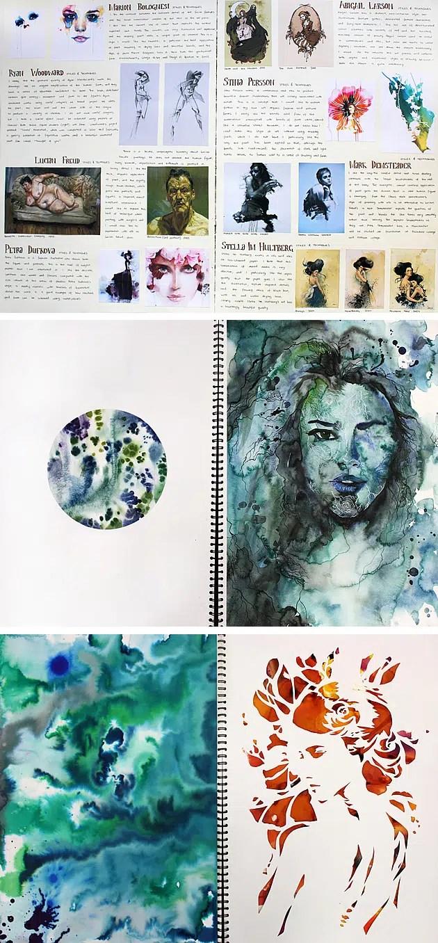 sketchbook layout of an artist study