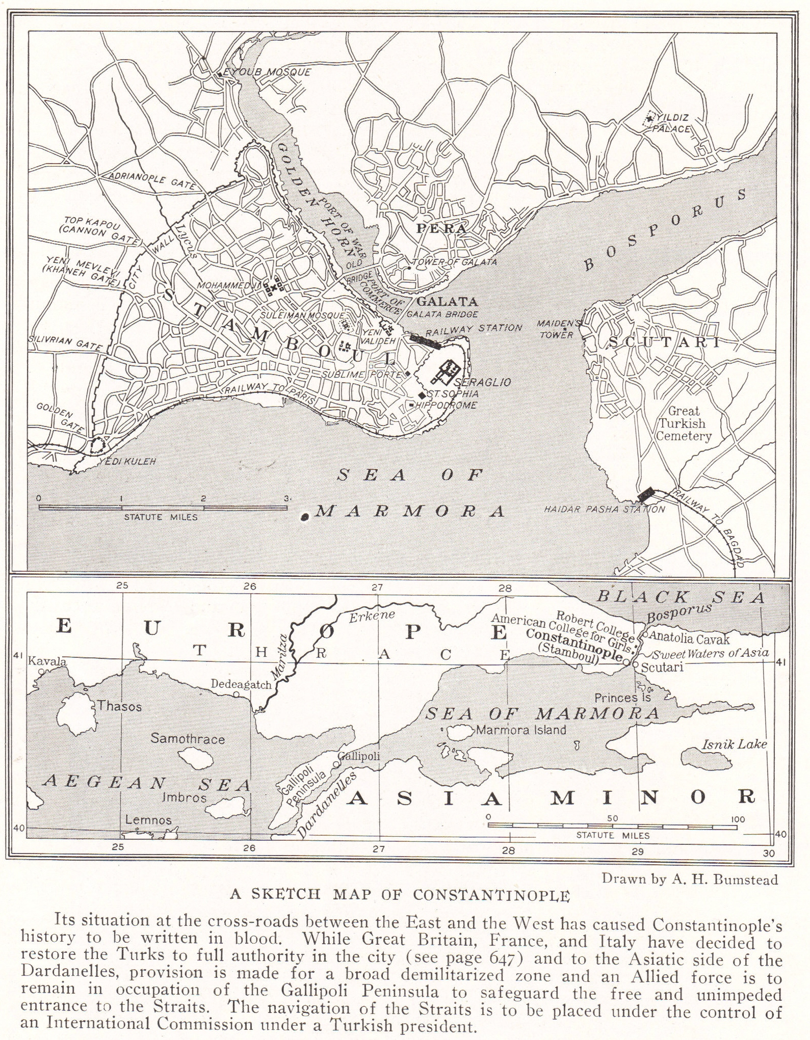 Sketch Map Of Constantinople Istanbul