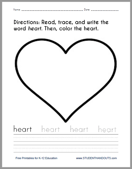 Heart Coloring And Writing Worksheet