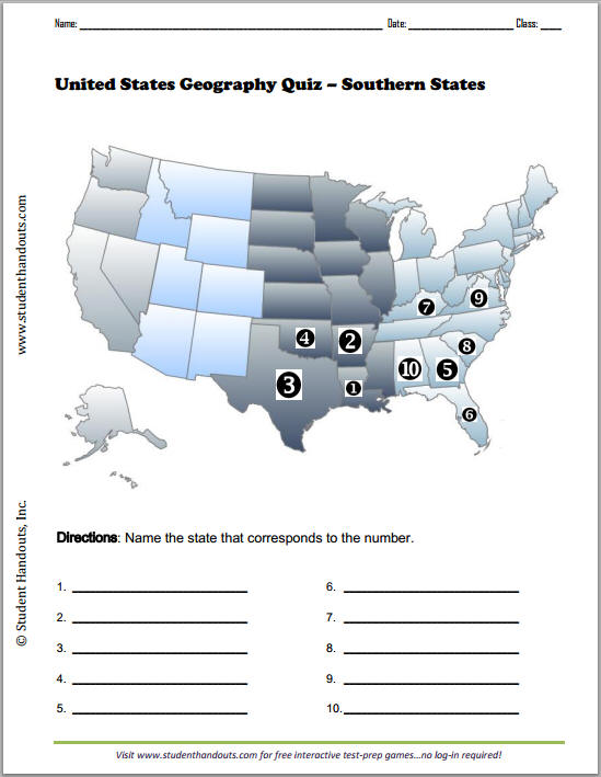 This map quiz game is here to help. Southern States Map Quiz Worksheet Student Handouts