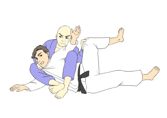 Black belts in Brazilian Jiu-Jitsu (BJJ) in traditional gis demonstrate the Bow and Arrow Choke Submission