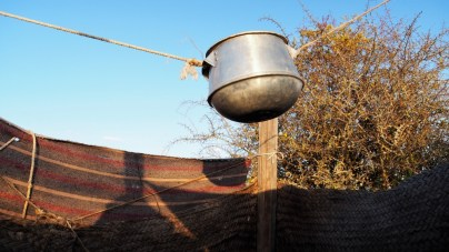 Shower head of water-saving outdoor shower.