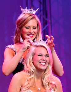 Miss University of Southern Mississippi 2013, Hannah Roberts, crowning Miss University of Southern Mississippi 2014, Kimberly Page, at the Saenger Theatre Saturday night.  Kara Davidson/Printz