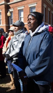 Participants in the re-enactment as well as onlookers concluded the march at the Forrest County Courthouse to hear notable speakers tell the story of the original march that took place in 1964 and the progress that has been made in the Pinebelt since then.  Kate Dearman/Printz