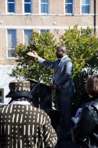 Don Holmes addressed the crowd gathered at the re-enactment taking place in Downtown Hattiesburg. Kate Dearman/Printz