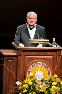 Former U.S Secretary of Defense and Director of the Cental Intelligence Agency, Robert Gates, speaks at the Saenger Theatre in Hattiesburg, Miss., Feb. 6 as part of The University of Southern Mississippi's Dale Distinguished Lecture Series in International Security and Global Policy. The Lecture Series is an effort of the university's Center for the Study of War and Society. April Garon/Printz