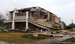 Ogletree House was left in shambles after the F-4 tornado hit Hattiesburg Monday, Feb. 11, 2013. The building, built in 1912, houses the university alumni association offices. Courtesy photo