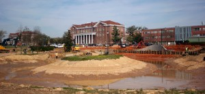 Historic Lake Byron undergoes reconstruction that will enhance the allure of the front campus landscape.  Hunt Mercier/Printz