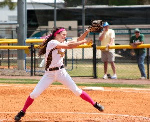 Junior Shelbee Rodgers pitches against UAB Saturday afternoon at the Southern Miss Softball Complex.  The team broke an 11-game losing streak with the Blazers but fell in the second game.   Hunt Mercier / Printz
