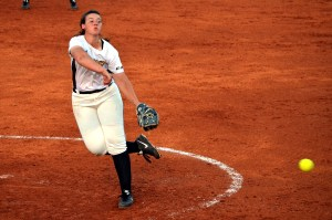 Freshman Samantha Robles pitches against The University of Alabama softball team Tuesday evening at the Southern Miss Softball Complex. The Golden Eagles fall to the Crimson Tide 12-0 in an upsetting game. Susan Broadbridge/Printz