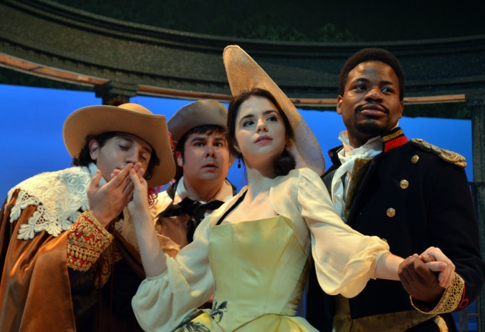 """Drew Davidson, Michael Morrison, Elizabeth McCoy and Terrance Fleming prepare for the upcoming play, """"The Liar"""" featured by the USM Theatre Department. The play will be held in the Theatre and Dance building on October 2 starting at 7:30 p.m. -Susan Broadbridge"""