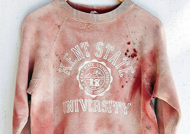 Urban Outfitters faces serious controversy after posting this seeimingly blood-spattered vintage Kent State University sweatshirt on their website under the sun-faded vintage collection. - Courtesy photo