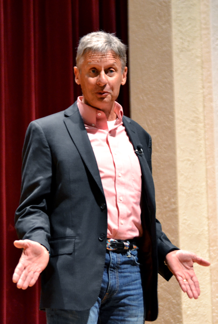 Former Presidential Candidate and Former New Mexico Governor Gary Johnson spoke Tuesday night in Bennett Auditorium. Johnson spoke on his views of politics as part of the University Forum Lecture Series.- Brittny Roberts