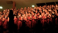 The women of Chi Omega end the night of Christmas songs during their 63rd Annual Songfest. The philanthropy event is highly anticipated and members of the Hattiesburg community come to support. -Kelley Joe Brumfield/Printz