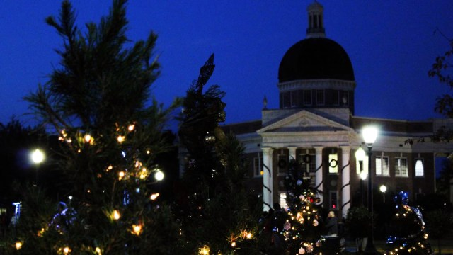 """Students, alumni and the Hattiesburg community joined together to spread holiday cheer at USM's annual """"Lighting the Way"""" event last year. Instead of christmas trees, this year, organizations can purchase lanterns to place around the front of campus. The event will take place this Wednesday at 5:30 p.m. -Kara Davidson"""