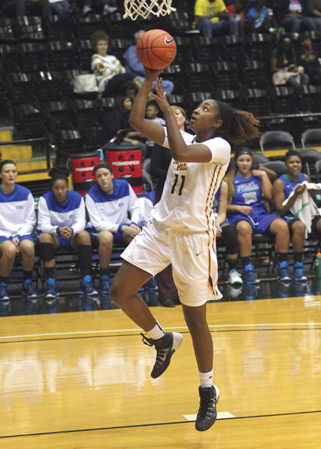 Senior Voche' Martin goes for the basket during the home game against West Florida on Nov. 8th. The Lady Eagles win against Tennessee Tech Wednesday night, 80-58. - Courtesy Photo/ Joe Harper, Southernmiss.com