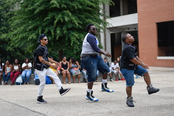 The Men of the Theta Eta chapter of Phi Beta Sigma Fraternity, Inc. step at Coolin' With the Zetas back to school social, Wednesday August 19, 2015, which is the first NPHC event held this 2015-16 school year. Courtland Wells/ Student Printz
