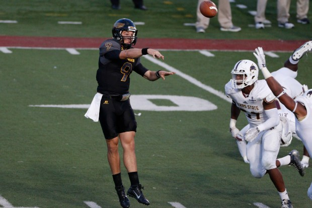 Sep 19, 2015; San Marcos, TX, USA; Southern Miss Golden Eagles quarterback Nick Mullens (9) throws a pass against the Texas State Bobcats during the first half at Bobcat Stadium. Mandatory Credit: Soobum Im-USA TODAY Sports