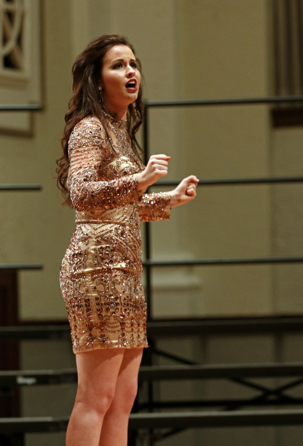 """The Southern Miss Showcase Concert of the Southern Invitational Choral Conference 2015 was held at Bennett Auditorium on the USM campus Monday, September 28, 2015.  Michaela Moore sings """"I'm the Greatest Star"""" from Funny Girl. Fadi Shahin/Student Printz"""