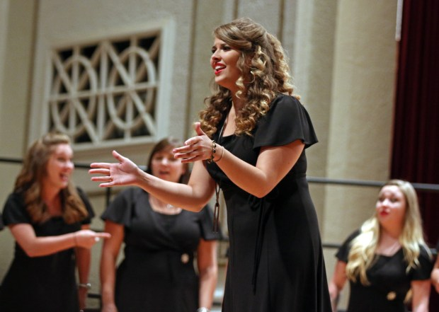 """The Southern Miss Showcase Concert of the Southern Invitational Choral Conference 2015 was held at Bennett Auditorium on the USM campus Monday, September 28, 2015.  Emily Gruzinskas, of the Southern Belle Tones, sings """"Break Free."""" Fadi Shahin/Student Printz"""