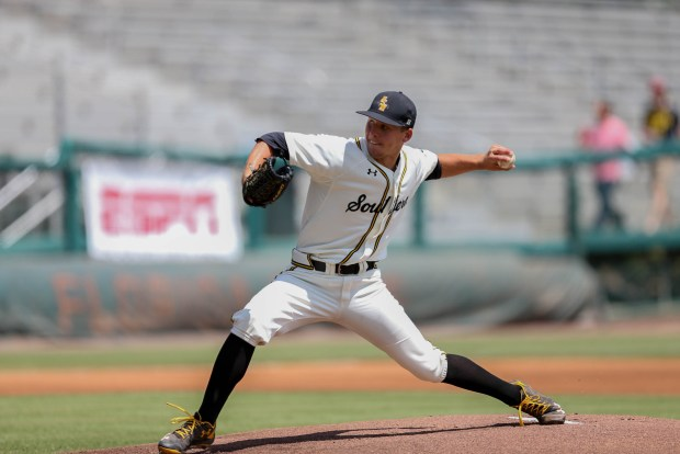 Southern Miss Golden Eagles' pitcher, Kirk McCarty throws the ball against South Alabama in Tallahassee, Florida at the NCAA 2016 Division I baseball championship on June 3, 2016.