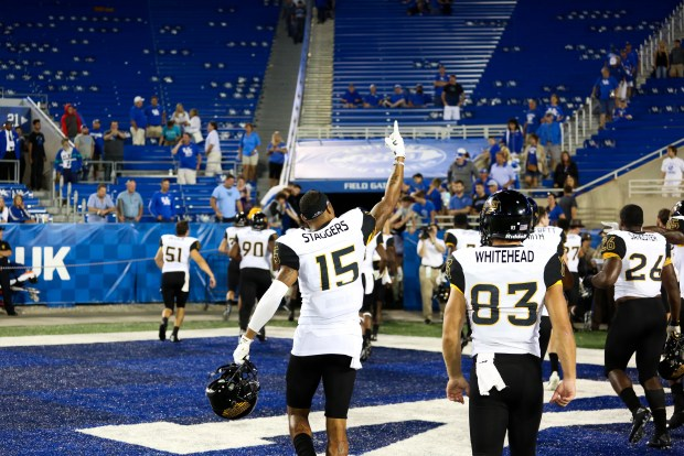 Southern Miss wide receiver Allenzae Staggers celebrates the winning at the Southern Miss vs. Kentucky football game on Sunday, Sep 4th, 2016. ( Student Printz/Fadi Shahin)