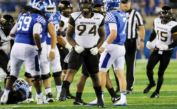 Southern Miss defensive lineman Dylan Bradley (94) celebrates after a successful tackle against the Kentucky Wildcats in Lexington, Kentucky on September 3, 2016. (Student Printz/ Hunt Mercier)
