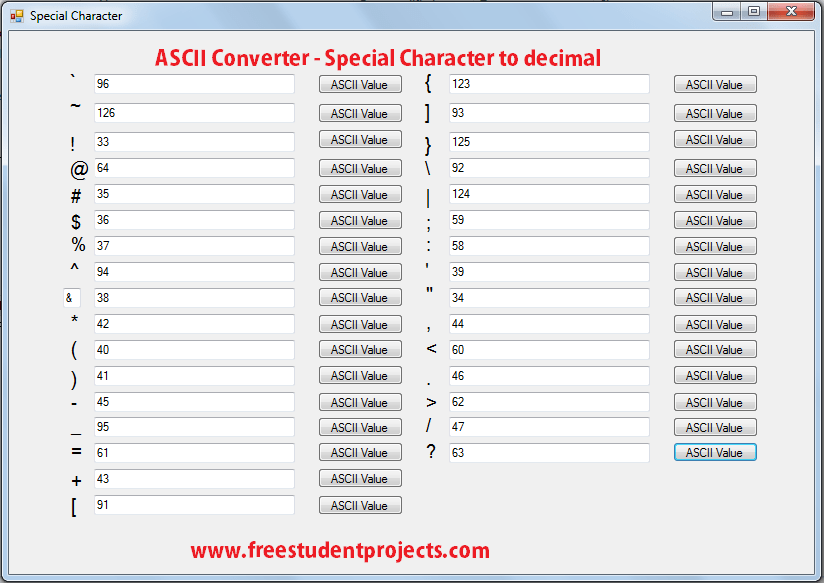 Ascii Converter Special Characters To Decimal Student