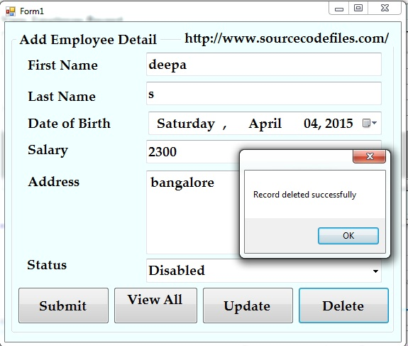 delete employee record