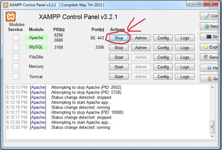 stop xampp server