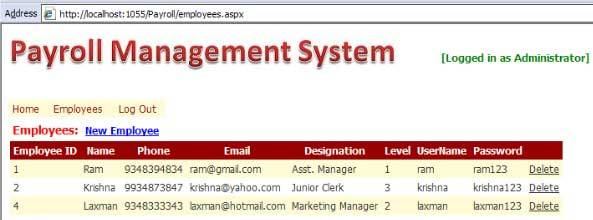 Payroll Management System in ASP NET - Student Project