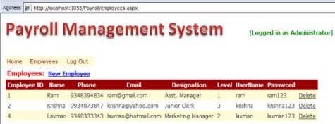 Payroll Management System project screenshot