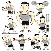 22190145-fitness-man-activities-actions-set-pack-cartoon