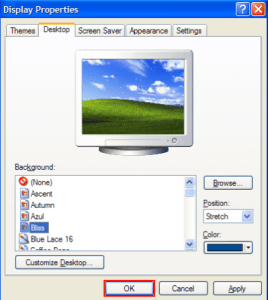 change wallpaper on desktop