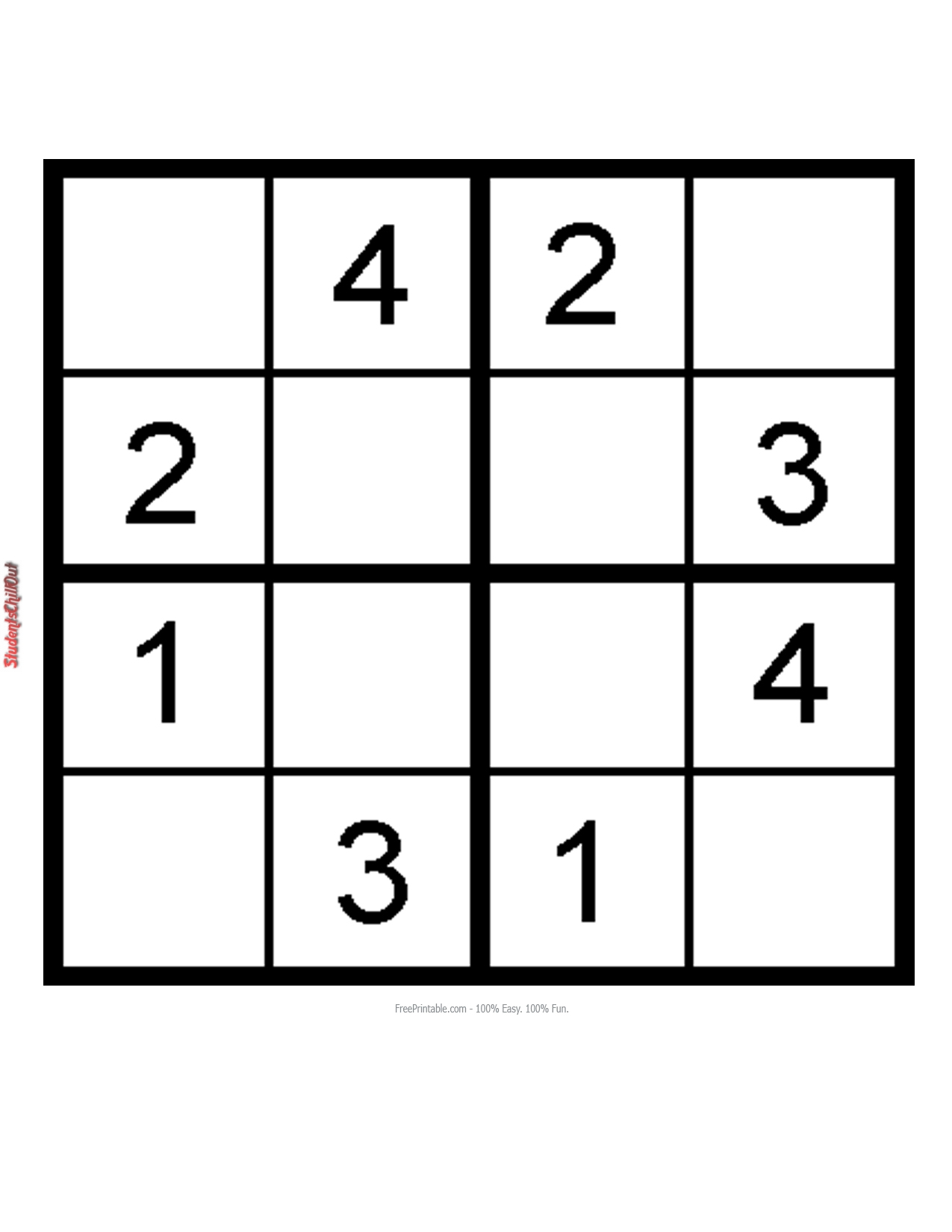 Kids Sudoku Printable Studentschillout