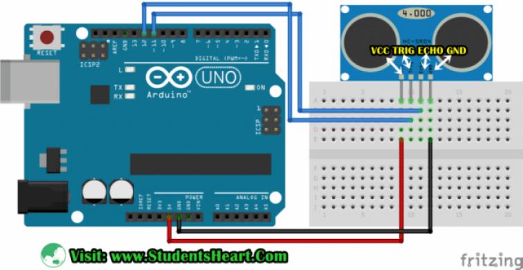 Circuit Diagram of Interfacing Ultrasonic Sensor with Arduino