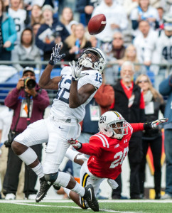 Wide reciever Chris Godwin opens up for a catch while evading University of Maryland defensive back Anthony Nixon during their game at M&T Bank Stadium on Saturday, Oct. 24. Photo by Nick Thomas