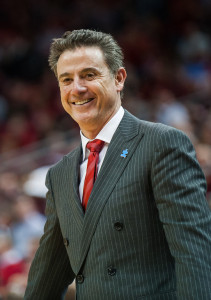 Photo courtesy of the Louisville Cardinal. Louisville men's head basketball coach Rick Pitino on the court while coaching the Cardinals last season.