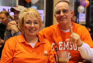 Greg and Tammy Vanhouy just found out about Philly's Sports Bar and Grill ten days before the game and decided to skip the hassle of parking, traffic and tickets to enjoy the game at the establishment. (Photo Credit: Torrence Dunham/Cronkite News)