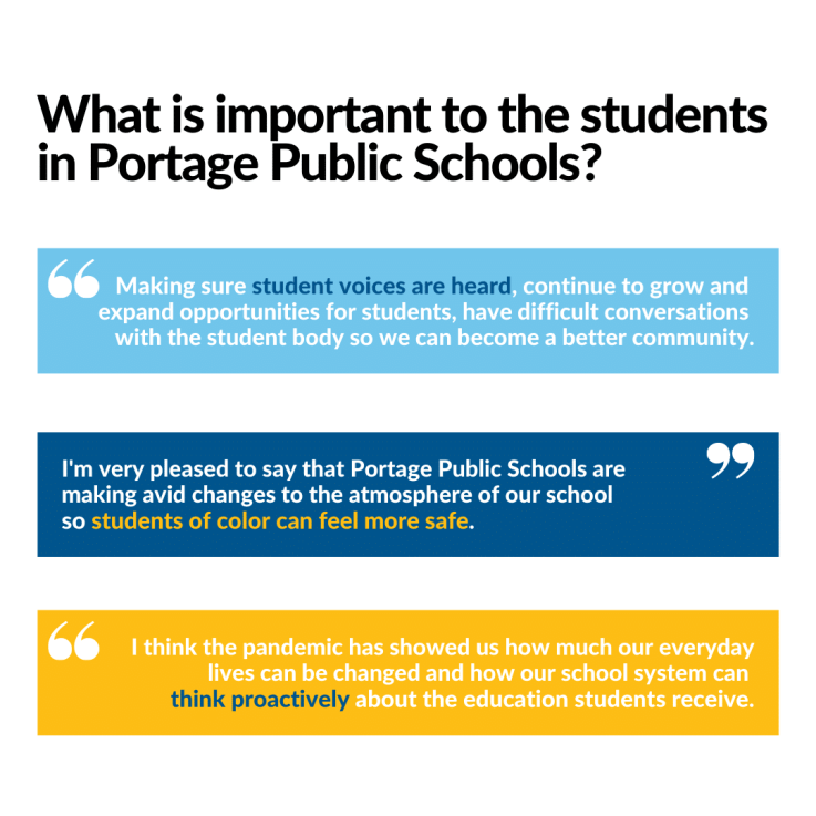 What is important to the students in portage public schools? Three students provide their answers which include that student voices are heard, that students of color feel more safe, and that the district think proactively about the education students receive.