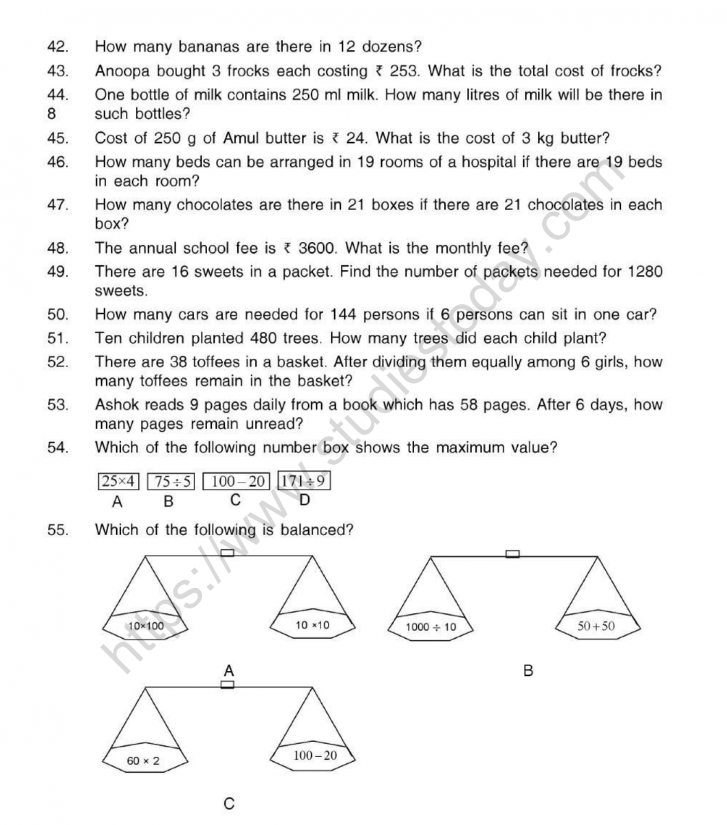 Cbse Class 5 Mental Maths Operations On Numbers Worksheet