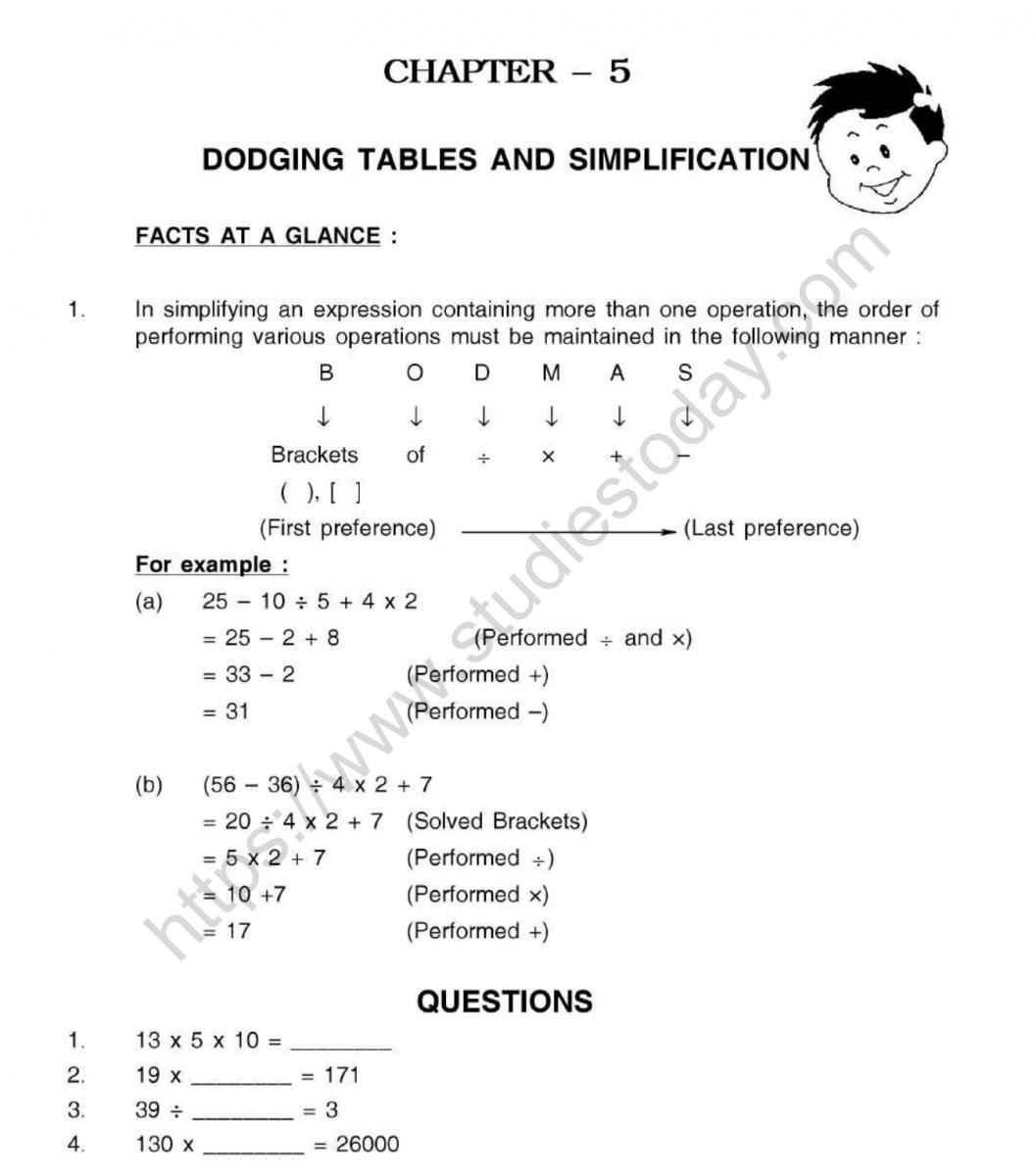 Cbse Class 5 Mental Maths Dodging Tables And