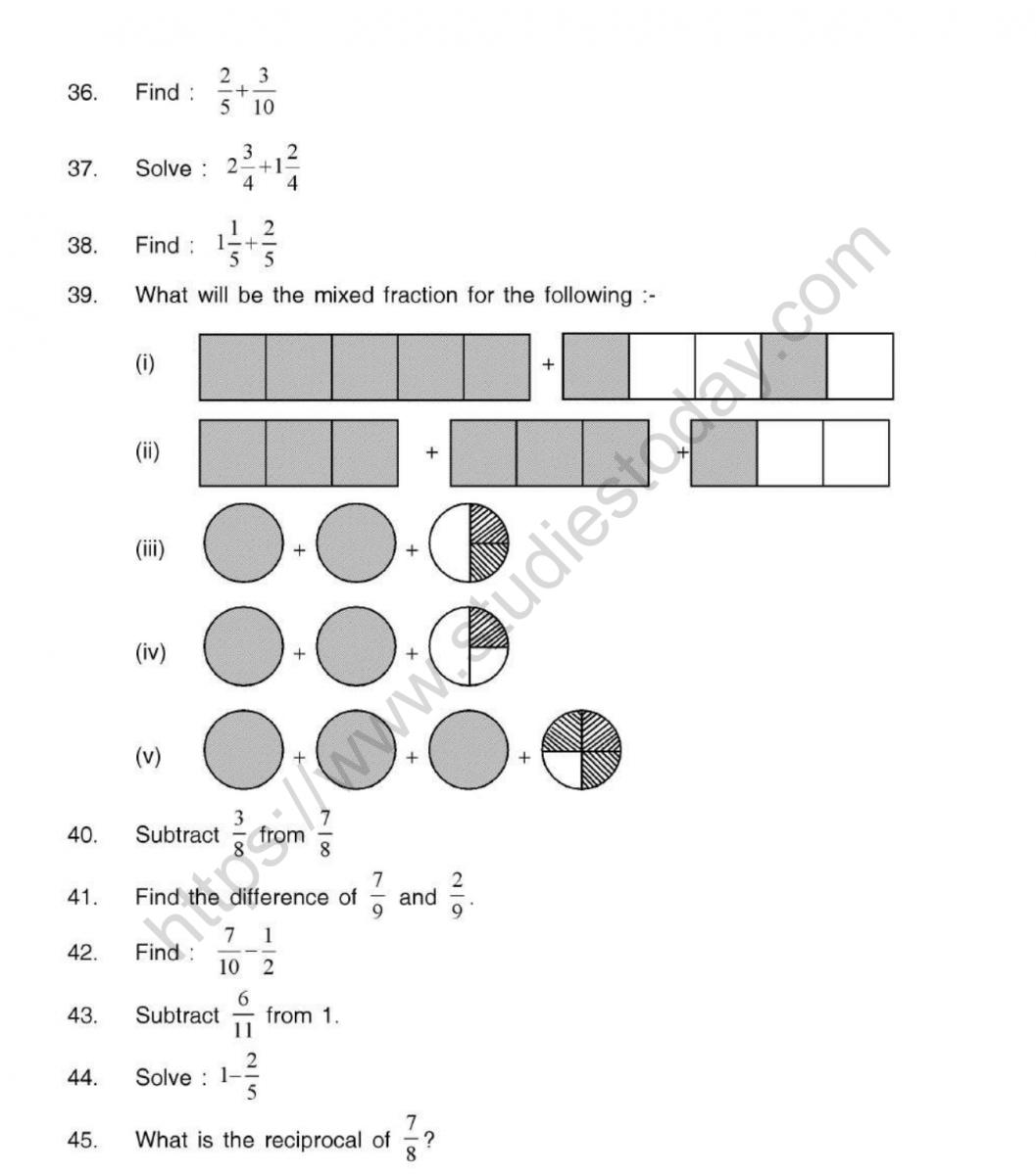 Cbse Class 5 Mental Maths Fractions Worksheet