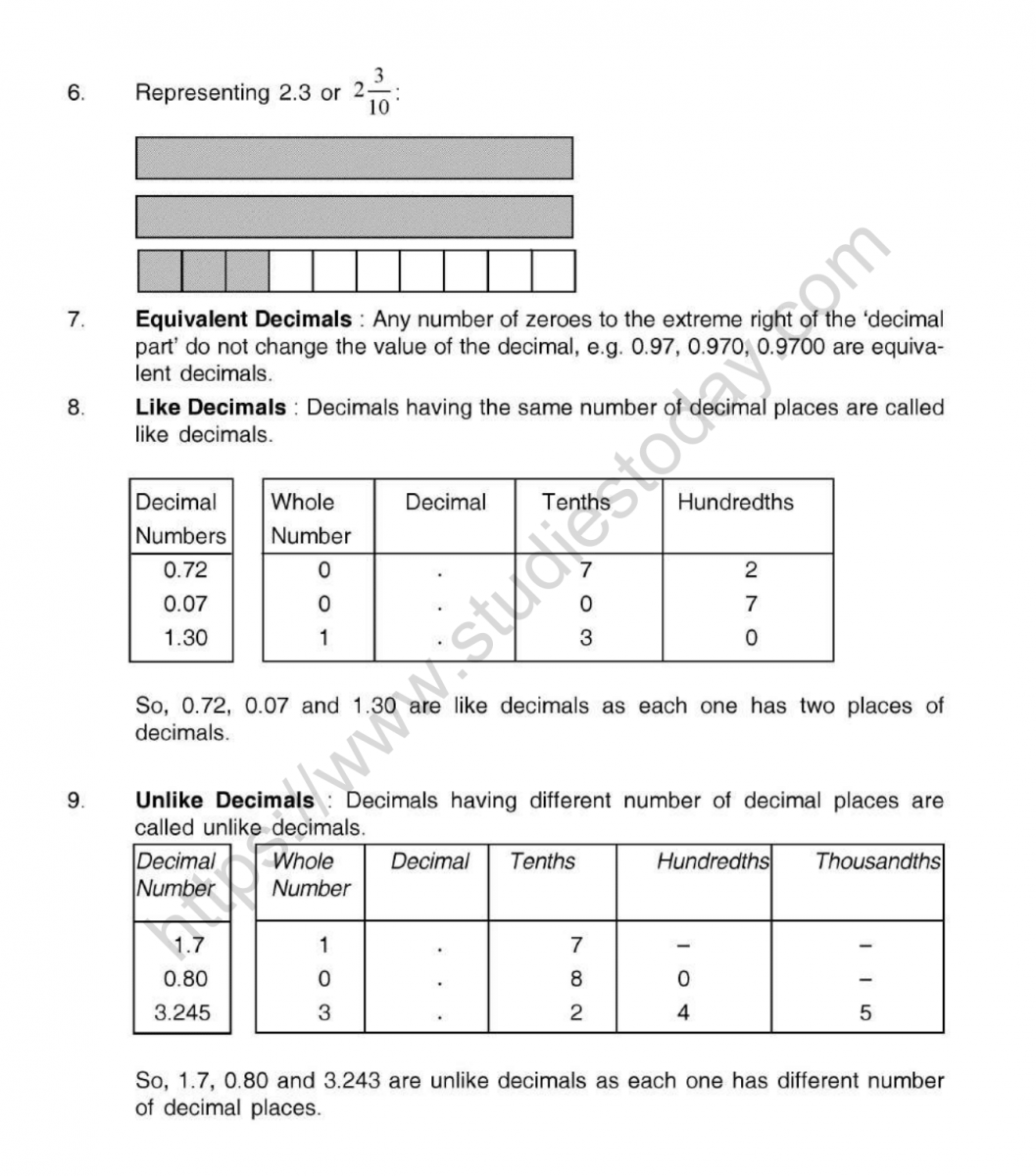 Cbse Class 5 Mental Maths Decimals Worksheet