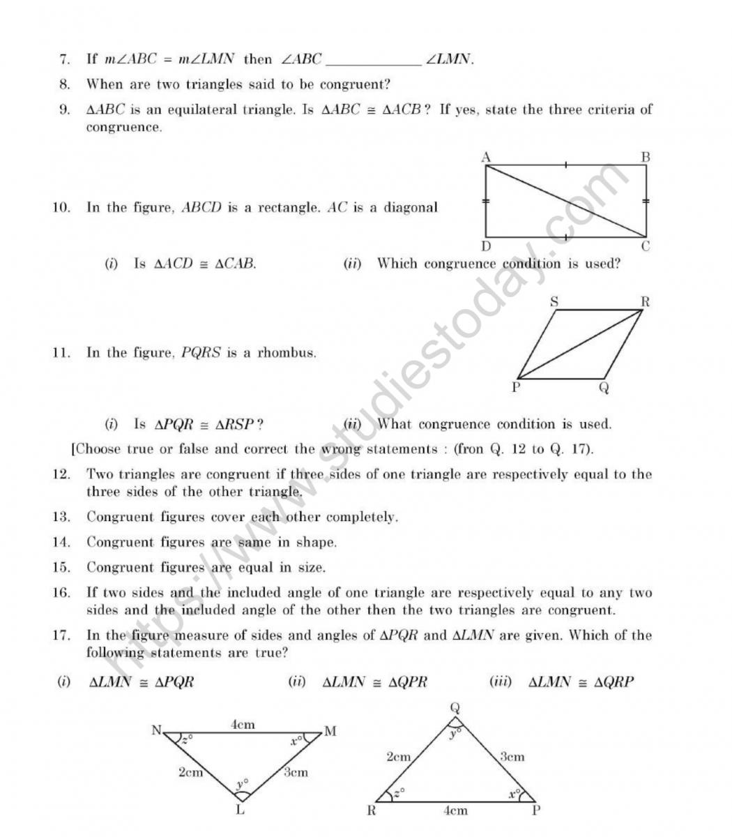 Cbse Class 7 Mental Maths Congruence Of Triangles Worksheet