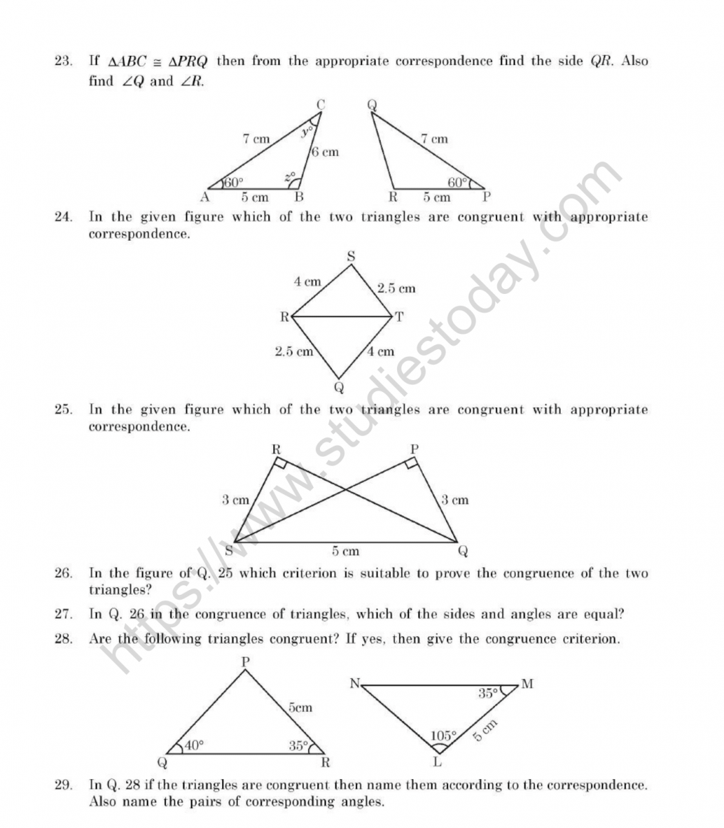 Cbse Class 7 Mental Maths Congruence Of Triangles Worksheet